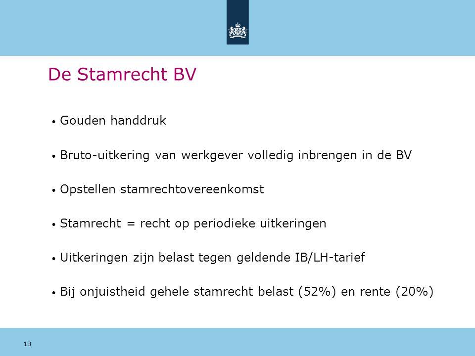 13 De Stamrecht BV Gouden handdruk Bruto-uitkering van werkgever volledig inbrengen in de BV Opstellen stamrechtovereenkomst Stamrecht = recht op peri