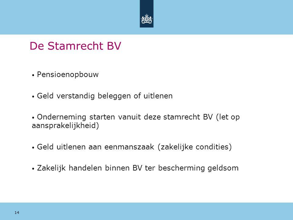 14 De Stamrecht BV Pensioenopbouw Geld verstandig beleggen of uitlenen Onderneming starten vanuit deze stamrecht BV (let op aansprakelijkheid) Geld ui