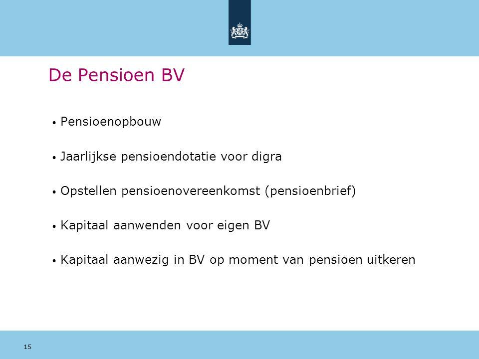 15 De Pensioen BV Pensioenopbouw Jaarlijkse pensioendotatie voor digra Opstellen pensioenovereenkomst (pensioenbrief) Kapitaal aanwenden voor eigen BV