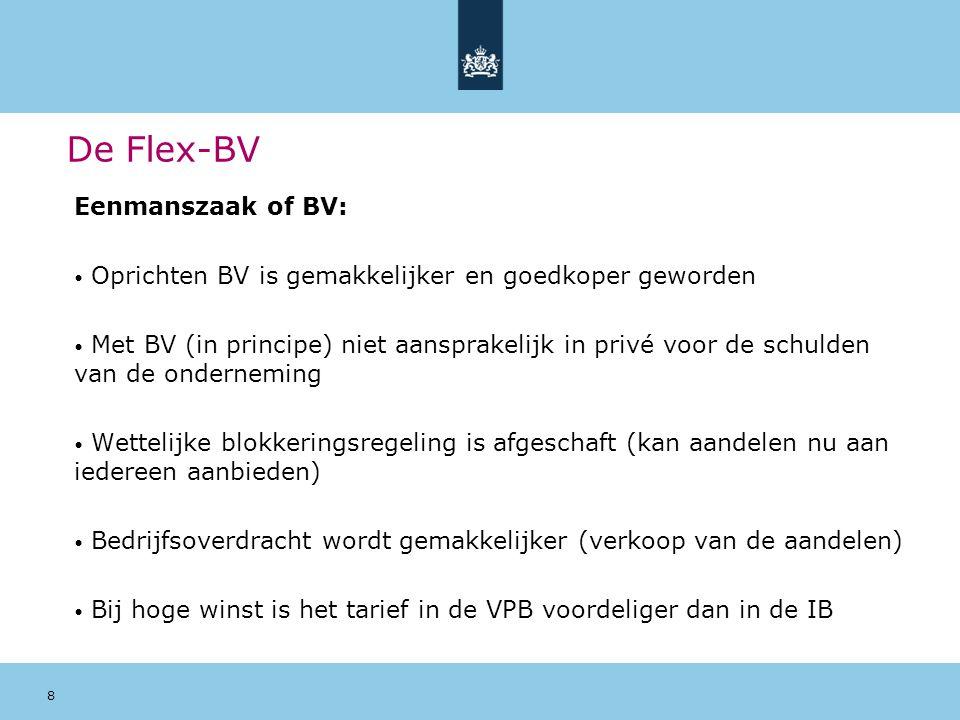 8 De Flex-BV Eenmanszaak of BV: Oprichten BV is gemakkelijker en goedkoper geworden Met BV (in principe) niet aansprakelijk in privé voor de schulden
