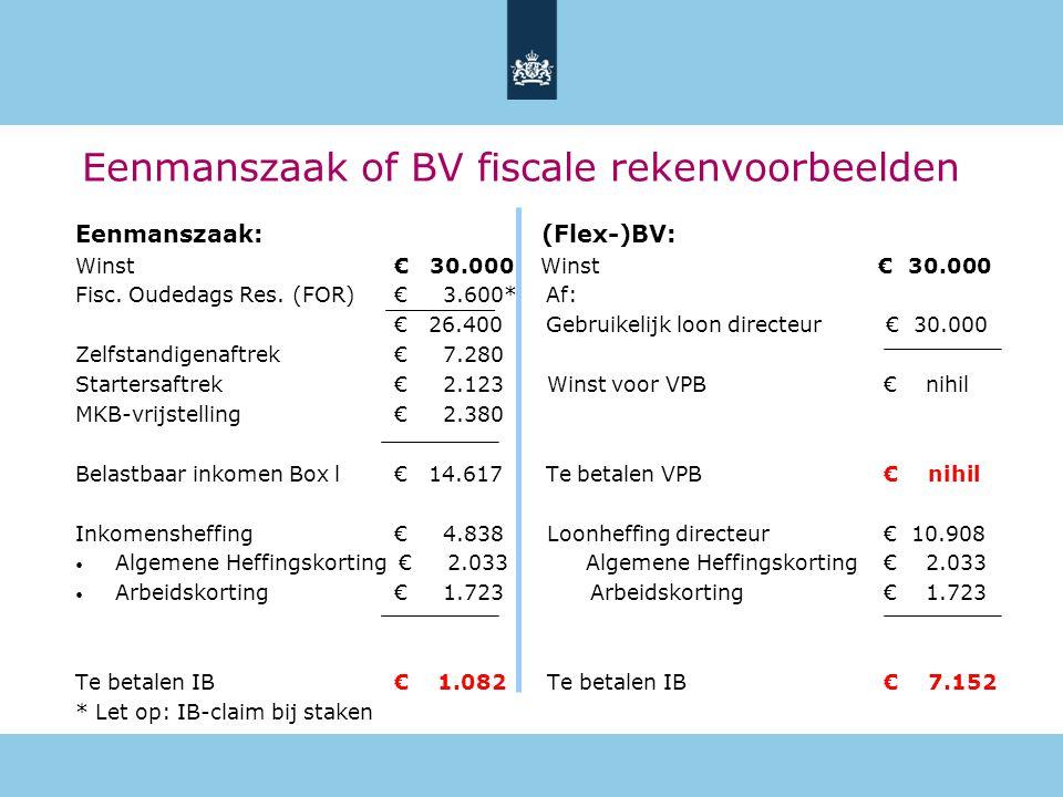 Eenmanszaak of BV fiscale rekenvoorbeelden Eenmanszaak: (Flex-)BV: Winst€ 30.000 Winst € 30.000 Fisc. Oudedags Res. (FOR) € 3.600* Af: € 26.400 Gebrui