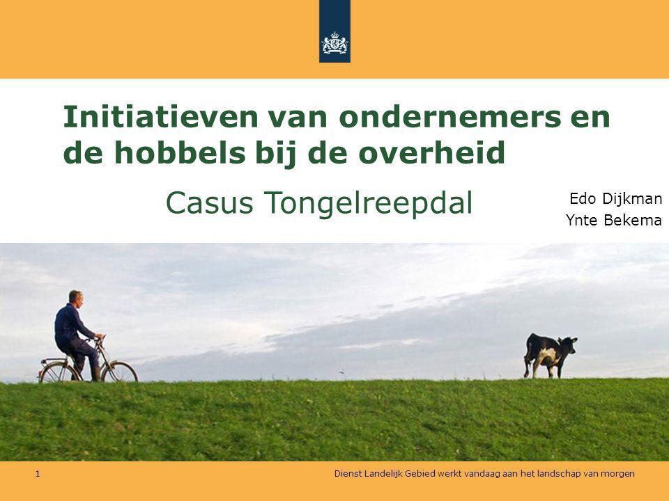 Dienst Landelijk Gebied werkt vandaag aan het landschap van morgen 1 Initiatieven van ondernemers en de hobbels bij de overheid Edo Dijkman Ynte Bekem