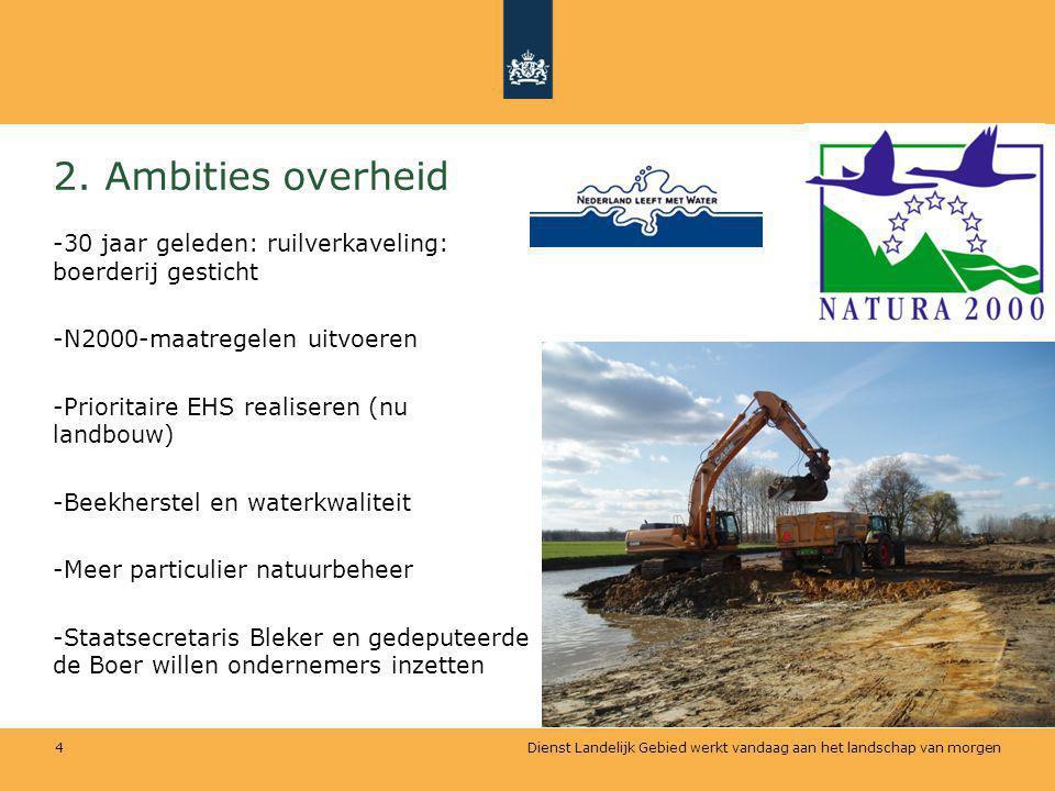 Dienst Landelijk Gebied werkt vandaag aan het landschap van morgen 4 2. Ambities overheid -30 jaar geleden: ruilverkaveling: boerderij gesticht -N2000