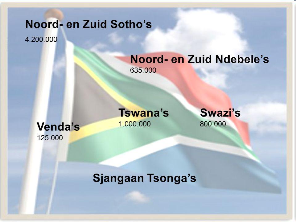 Noord- en Zuid Sotho's 4.200.000 Venda's 125.000 Tswana's 1.000.000 Sjangaan Tsonga's Noord- en Zuid Ndebele's 635.000 Swazi's 800.000