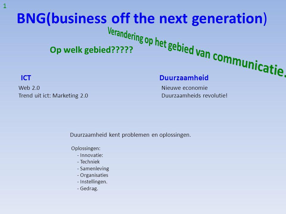 BNG(business off the next generation) Op welk gebied????? Duurzaamheid kent problemen en oplossingen. Oplossingen: - Innovatie: - Techniek - Samenlevi