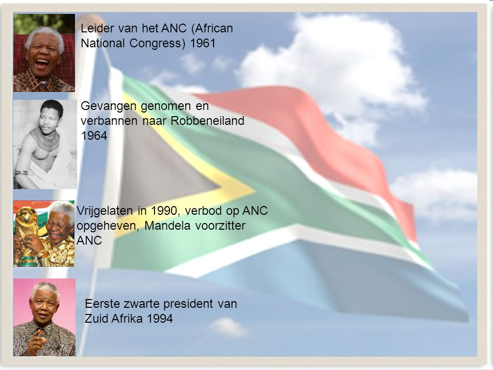 Leider van het ANC (African National Congress) 1961 Gevangen genomen en verbannen naar Robbeneiland 1964 Vrijgelaten in 1990, verbod op ANC opgeheven,