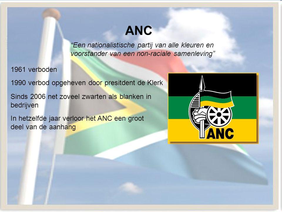 """ANC 1961 verboden 1990 verbod opgeheven door presitdent de Klerk """"Een nationalistische partij van alle kleuren en voorstander van een non-raciale same"""