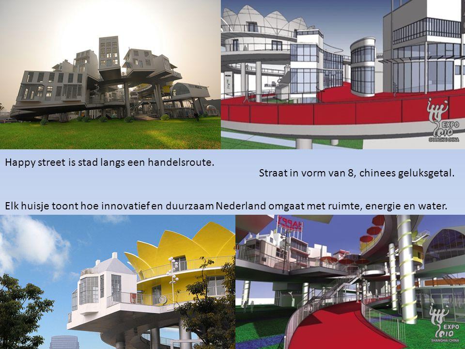 Happy street is stad langs een handelsroute. Straat in vorm van 8, chinees geluksgetal. Elk huisje toont hoe innovatief en duurzaam Nederland omgaat m