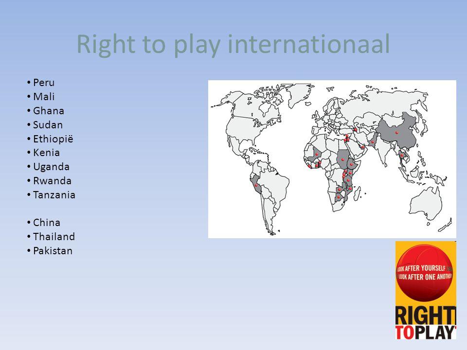 Right to play internationaal Peru Mali Ghana Sudan Ethiopië Kenia Uganda Rwanda Tanzania China Thailand Pakistan