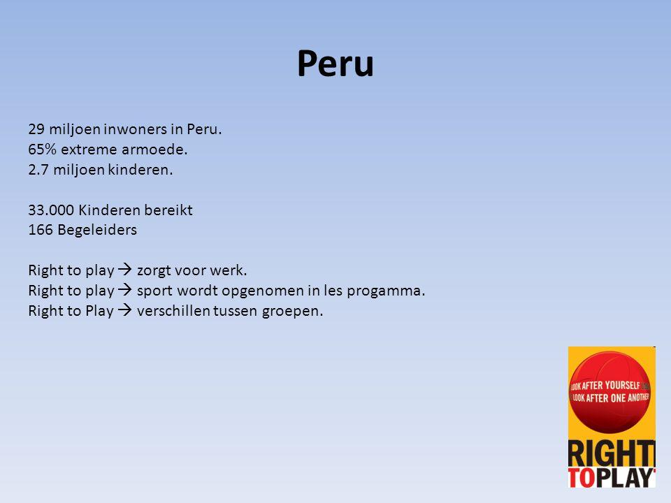 29 miljoen inwoners in Peru. 65% extreme armoede. 2.7 miljoen kinderen. 33.000 Kinderen bereikt 166 Begeleiders Right to play  zorgt voor werk. Right