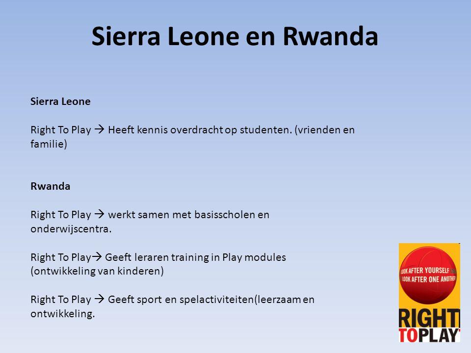 Sierra Leone Right To Play  Heeft kennis overdracht op studenten. (vrienden en familie) Rwanda Right To Play  werkt samen met basisscholen en onderw