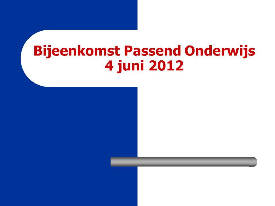 Bijeenkomst Passend Onderwijs 4 juni 2012