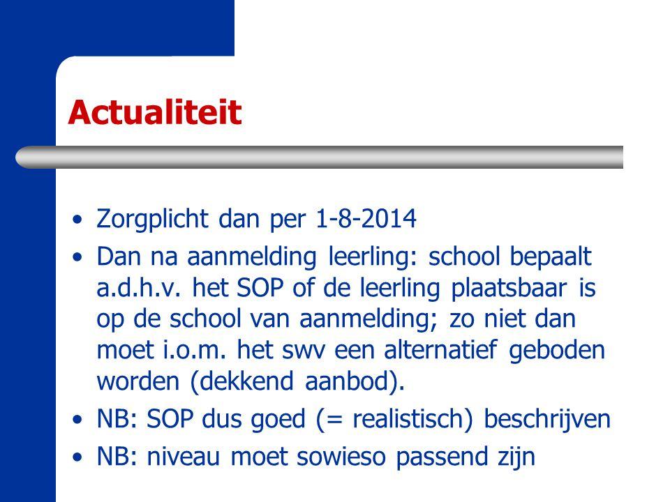 Actualiteit Zorgplicht dan per 1-8-2014 Dan na aanmelding leerling: school bepaalt a.d.h.v. het SOP of de leerling plaatsbaar is op de school van aanm