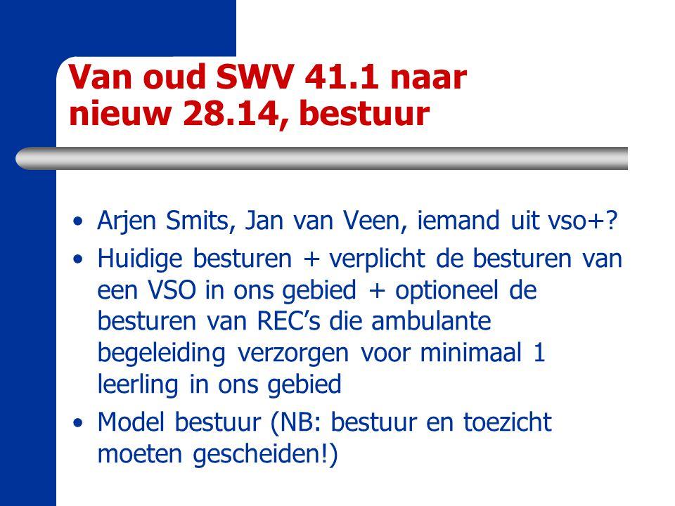 Van oud SWV 41.1 naar nieuw 28.14, bestuur Arjen Smits, Jan van Veen, iemand uit vso+? Huidige besturen + verplicht de besturen van een VSO in ons geb