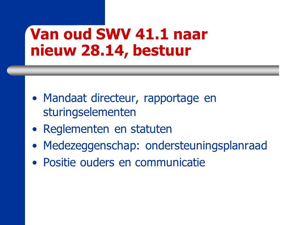 Van oud SWV 41.1 naar nieuw 28.14, bestuur Mandaat directeur, rapportage en sturingselementen Reglementen en statuten Medezeggenschap: ondersteuningsp
