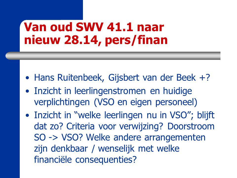 Van oud SWV 41.1 naar nieuw 28.14, pers/finan Hans Ruitenbeek, Gijsbert van der Beek +? Inzicht in leerlingenstromen en huidige verplichtingen (VSO en