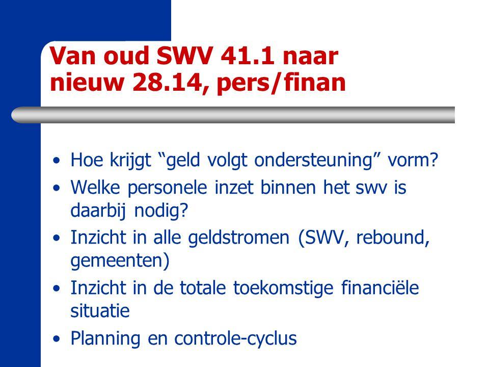 """Van oud SWV 41.1 naar nieuw 28.14, pers/finan Hoe krijgt """"geld volgt ondersteuning"""" vorm? Welke personele inzet binnen het swv is daarbij nodig? Inzic"""