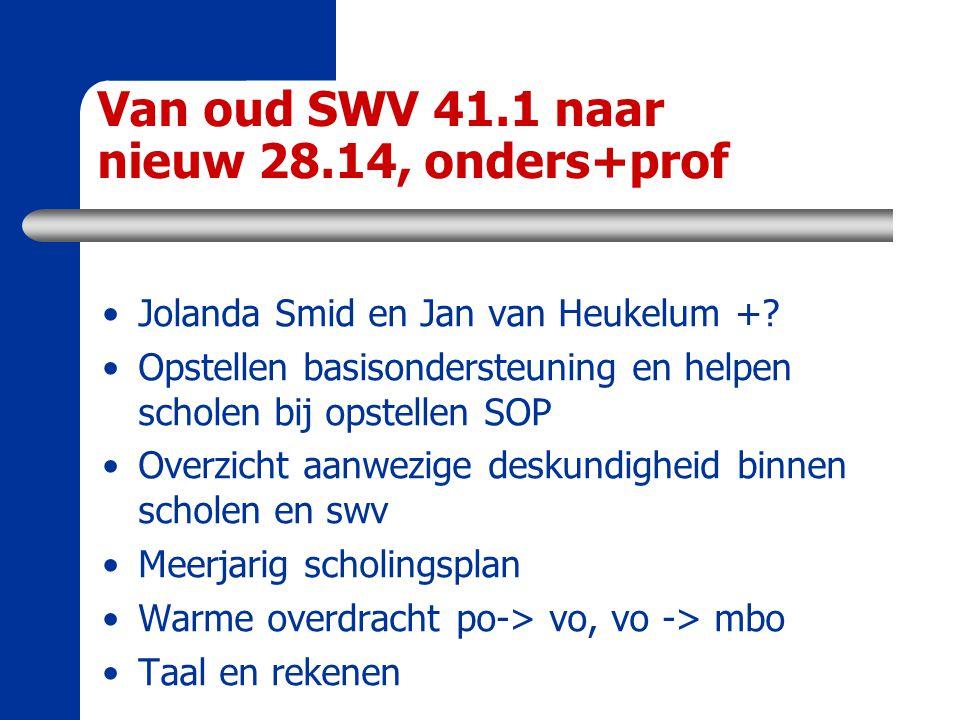 Van oud SWV 41.1 naar nieuw 28.14, onders+prof Jolanda Smid en Jan van Heukelum +? Opstellen basisondersteuning en helpen scholen bij opstellen SOP Ov