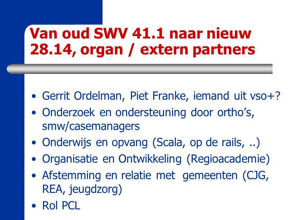 Van oud SWV 41.1 naar nieuw 28.14, organ / extern partners Gerrit Ordelman, Piet Franke, iemand uit vso+? Onderzoek en ondersteuning door ortho's, smw