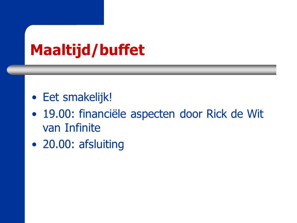 Maaltijd/buffet Eet smakelijk! 19.00: financiële aspecten door Rick de Wit van Infinite 20.00: afsluiting