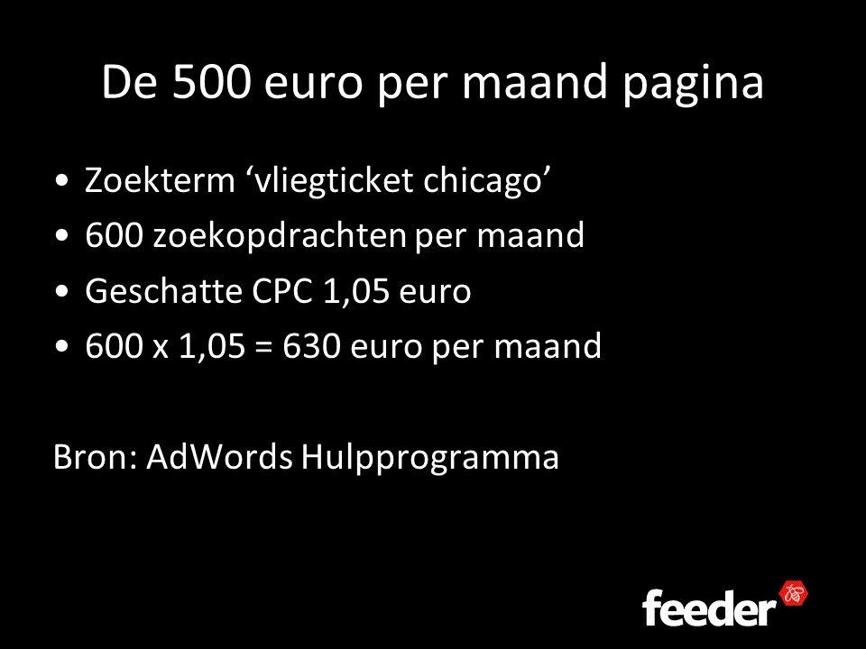 De 500 euro per maand pagina Zoekterm 'vliegticket chicago' 600 zoekopdrachten per maand Geschatte CPC 1,05 euro 600 x 1,05 = 630 euro per maand Bron: AdWords Hulpprogramma