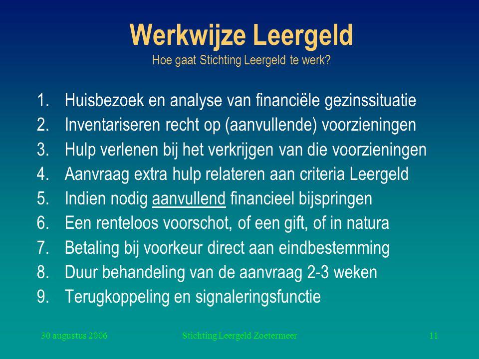 30 augustus 2006Stichting Leergeld Zoetermeer11 Werkwijze Leergeld Hoe gaat Stichting Leergeld te werk? 1.Huisbezoek en analyse van financiële gezinss