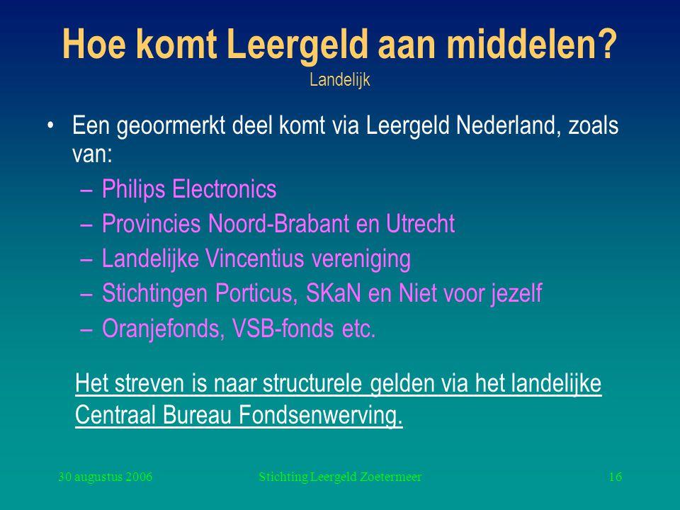 30 augustus 2006Stichting Leergeld Zoetermeer16 Hoe komt Leergeld aan middelen? Landelijk Een geoormerkt deel komt via Leergeld Nederland, zoals van: