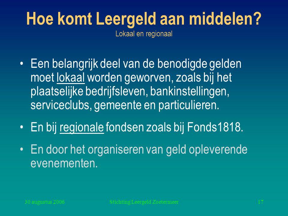 30 augustus 2006Stichting Leergeld Zoetermeer17 Hoe komt Leergeld aan middelen? Lokaal en regionaal Een belangrijk deel van de benodigde gelden moet l