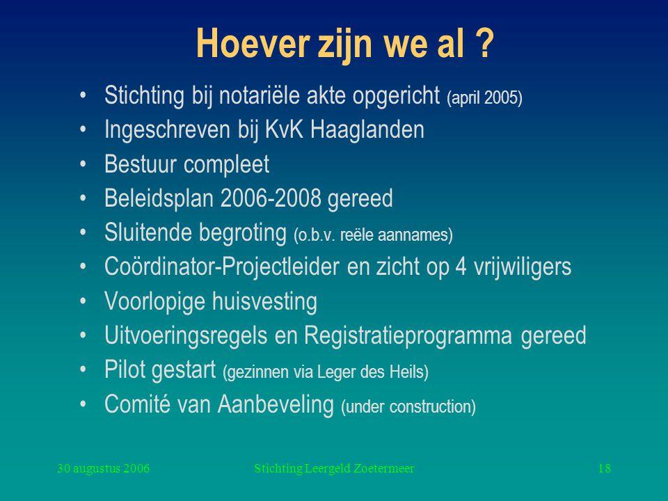 30 augustus 2006Stichting Leergeld Zoetermeer18 Hoever zijn we al ? Stichting bij notariële akte opgericht (april 2005) Ingeschreven bij KvK Haaglande