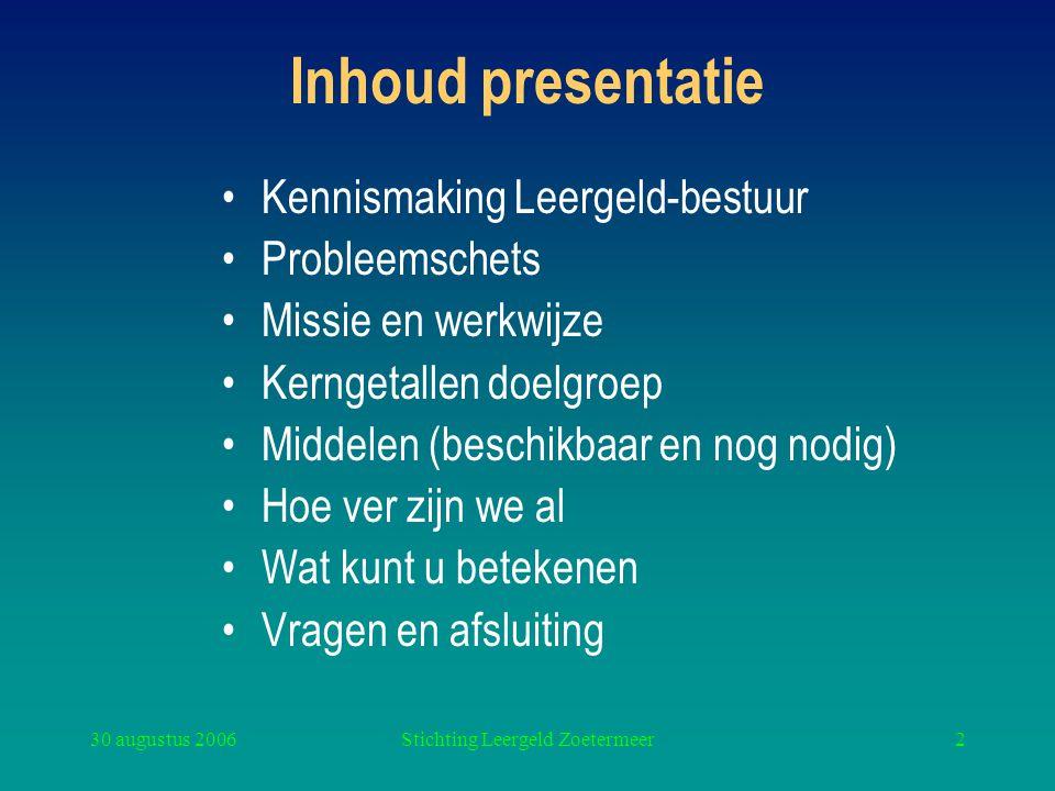 30 augustus 2006Stichting Leergeld Zoetermeer2 Inhoud presentatie Kennismaking Leergeld-bestuur Probleemschets Missie en werkwijze Kerngetallen doelgr