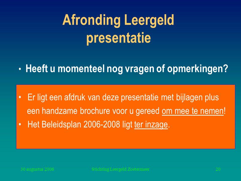 30 augustus 2006Stichting Leergeld Zoetermeer20 Afronding Leergeld presentatie Er ligt een afdruk van deze presentatie met bijlagen plus een handzame