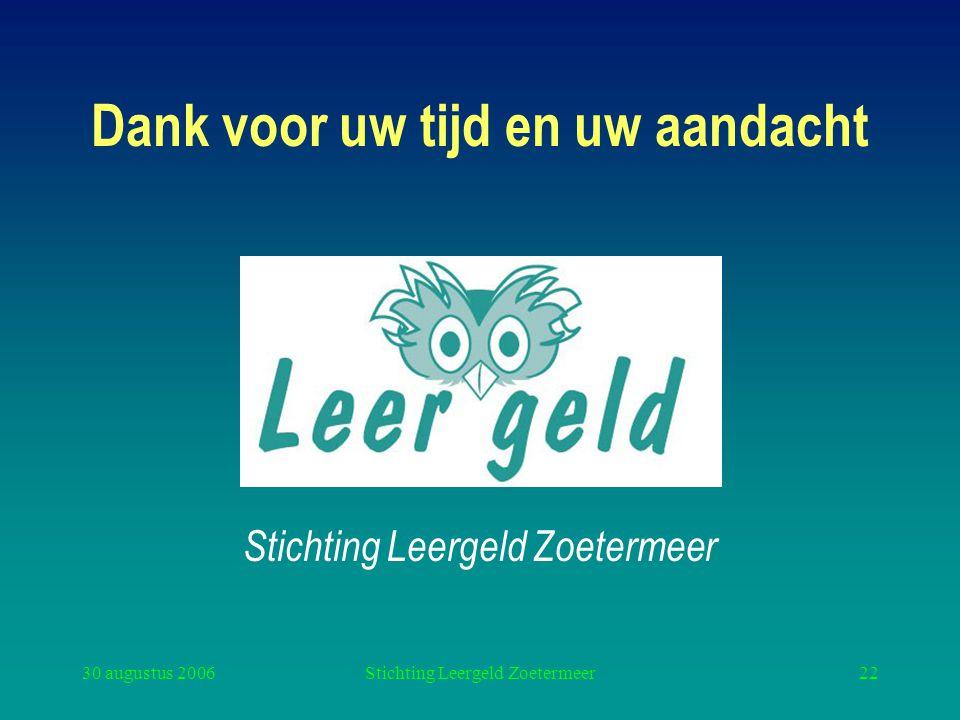 30 augustus 2006Stichting Leergeld Zoetermeer22 Dank voor uw tijd en uw aandacht Stichting Leergeld Zoetermeer