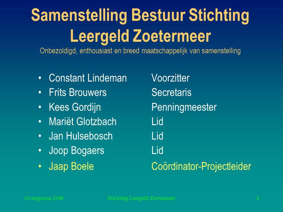 30 augustus 2006Stichting Leergeld Zoetermeer4 Samenstelling Bestuur Stichting Leergeld Zoetermeer Onbezoldigd, enthousiast en breed maatschappelijk v