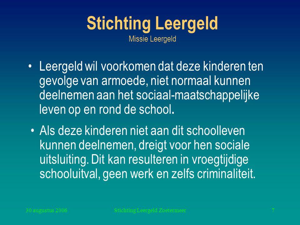 30 augustus 2006Stichting Leergeld Zoetermeer7 Stichting Leergeld Missie Leergeld Leergeld wil voorkomen dat deze kinderen ten gevolge van armoede, ni