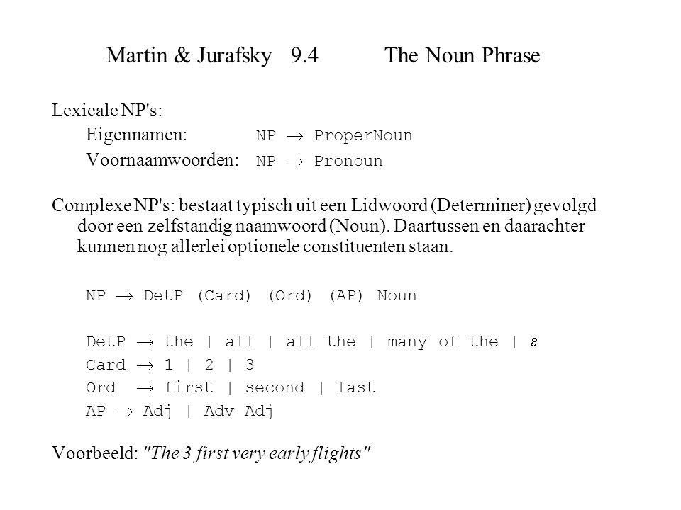 Martin & Jurafsky 9.4 The Noun Phrase Lexicale NP's: Eigennamen: NP  ProperNoun Voornaamwoorden: NP  Pronoun Complexe NP's: bestaat typisch uit een