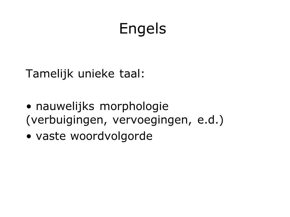 Engels Tamelijk unieke taal: nauwelijks morphologie (verbuigingen, vervoegingen, e.d.) vaste woordvolgorde