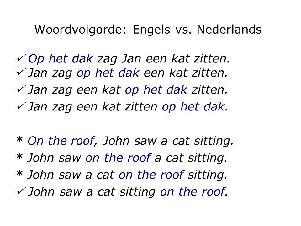 Woordvolgorde: Engels vs. Nederlands Op het dak zag Jan een kat zitten. Jan zag op het dak een kat zitten. Jan zag een kat op het dak zitten. Jan zag