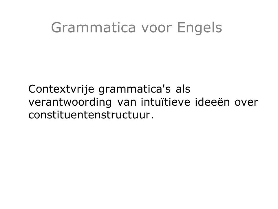 Grammatica voor Engels Contextvrije grammatica's als verantwoording van intuïtieve ideeën over constituentenstructuur.