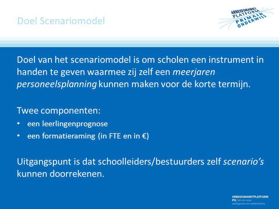 Doel Scenariomodel Doel van het scenariomodel is om scholen een instrument in handen te geven waarmee zij zelf een meerjaren personeelsplanning kunnen
