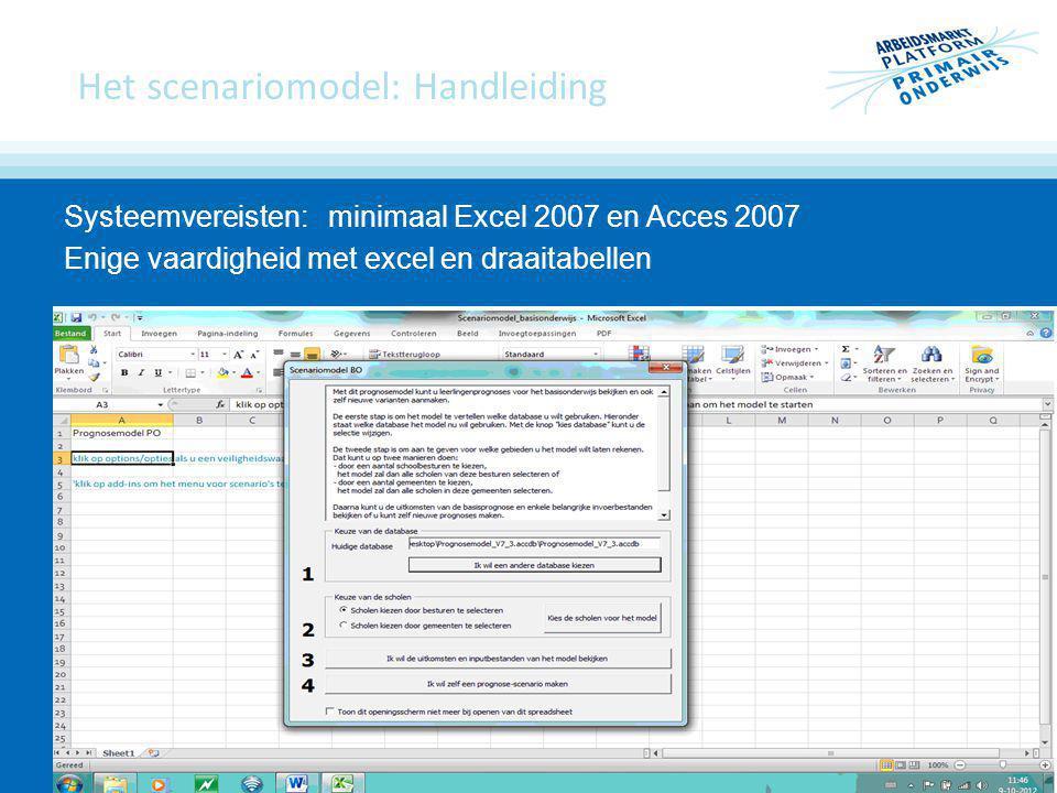 Het scenariomodel: Handleiding Systeemvereisten:minimaal Excel 2007 en Acces 2007 Enige vaardigheid met excel en draaitabellen