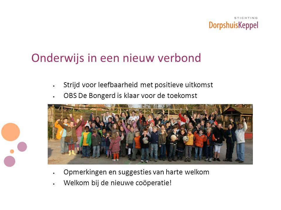 Onderwijs in een nieuw verbond  Strijd voor leefbaarheid met positieve uitkomst  OBS De Bongerd is klaar voor de toekomst  Opmerkingen en suggesties van harte welkom  Welkom bij de nieuwe coöperatie!