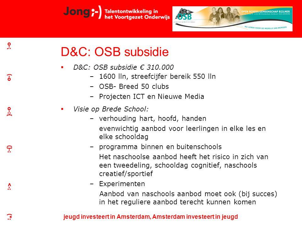 jeugd investeert in Amsterdam, Amsterdam investeert in jeugd D&C: OSB subsidie  D&C: OSB subsidie € 310.000 –1600 lln, streefcijfer bereik 550 lln –OSB- Breed 50 clubs –Projecten ICT en Nieuwe Media  Visie op Brede School: –verhouding hart, hoofd, handen evenwichtig aanbod voor leerlingen in elke les en elke schooldag –programma binnen en buitenschools Het naschoolse aanbod heeft het risico in zich van een tweedeling, schooldag cognitief, naschools creatief/sportief –Experimenten Aanbod van naschools aanbod moet ook (bij succes) in het reguliere aanbod terecht kunnen komen