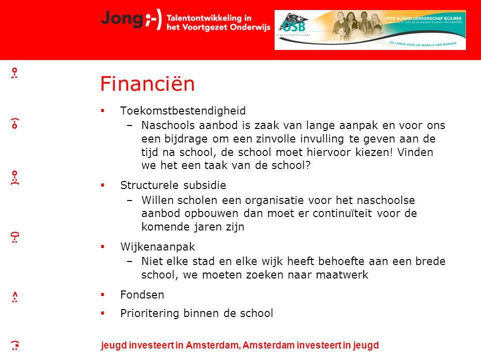 jeugd investeert in Amsterdam, Amsterdam investeert in jeugd Financiën  Toekomstbestendigheid –Naschools aanbod is zaak van lange aanpak en voor ons een bijdrage om een zinvolle invulling te geven aan de tijd na school, de school moet hiervoor kiezen.
