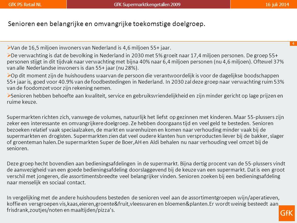4 GfK PS Retail NLGfK Supermarktkengetallen 200916 juli 2014 Senioren een belangrijke en omvangrijke toekomstige doelgroep.