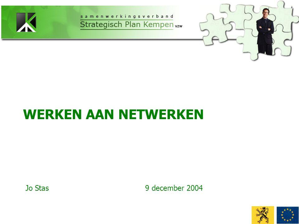 WERKEN AAN NETWERKEN Jo Stas9 december 2004