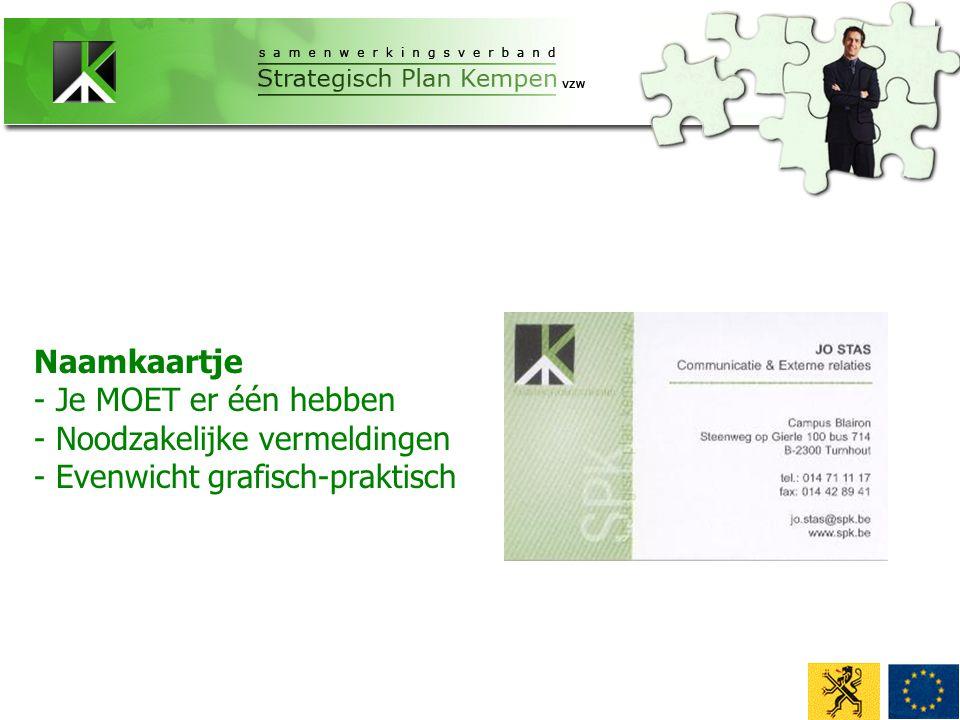 Naamkaartje - Je MOET er één hebben - Noodzakelijke vermeldingen - Evenwicht grafisch-praktisch