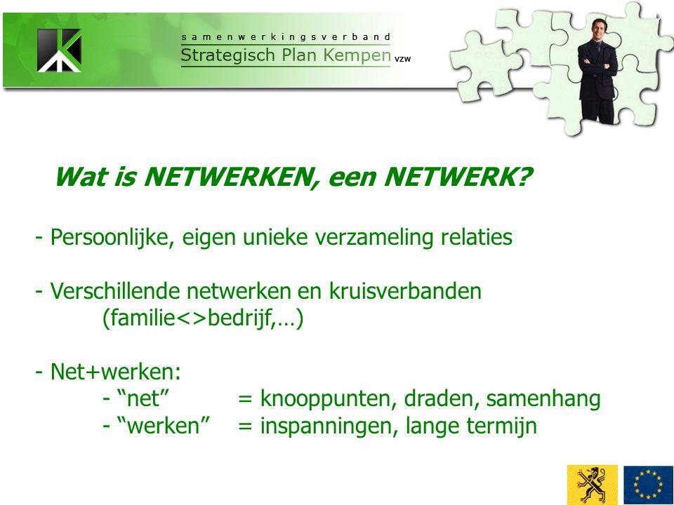 - Persoonlijke, eigen unieke verzameling relaties - Verschillende netwerken en kruisverbanden (familie<>bedrijf,…) - Net+werken: - net = knooppunten, draden, samenhang - werken = inspanningen, lange termijn Wat is NETWERKEN, een NETWERK