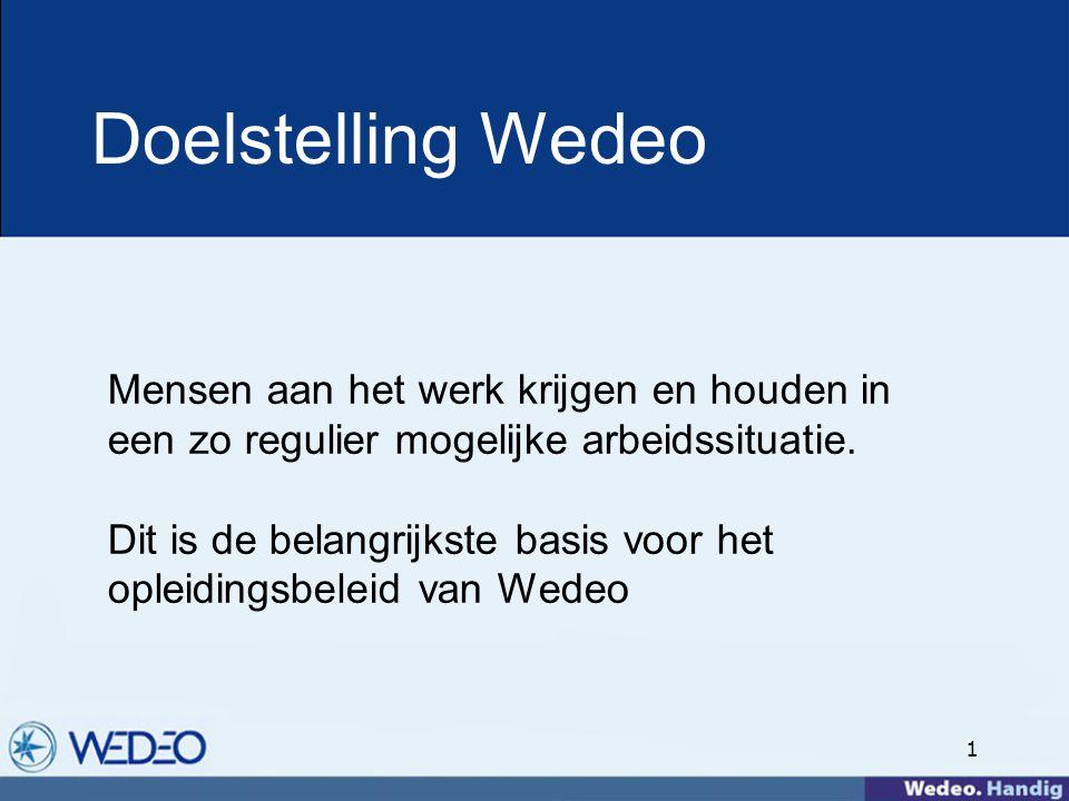 1 Doelstelling Wedeo Mensen aan het werk krijgen en houden in een zo regulier mogelijke arbeidssituatie.