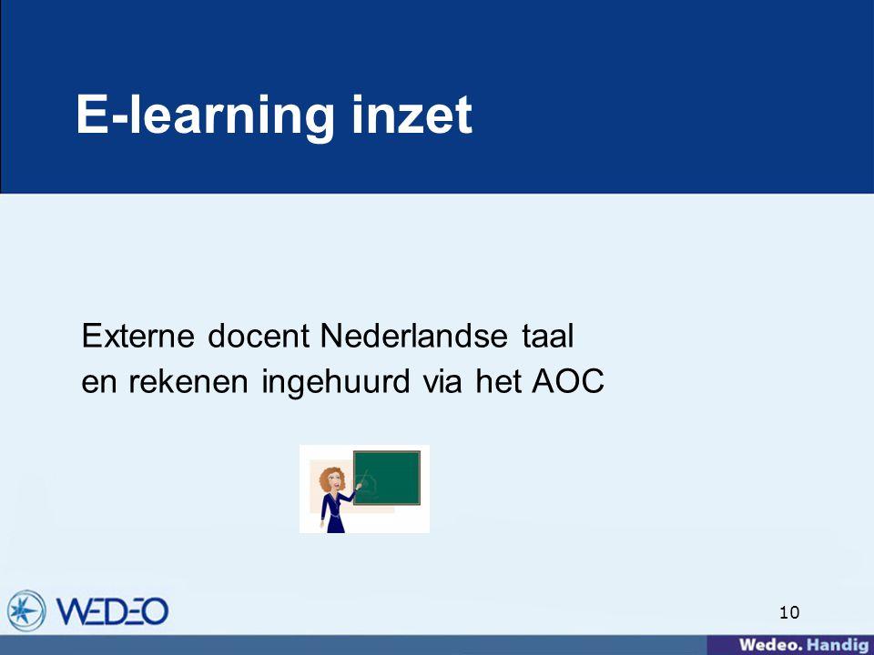 10 E-learning inzet Externe docent Nederlandse taal en rekenen ingehuurd via het AOC