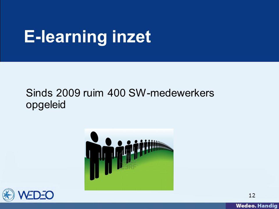 12 E-learning inzet Sinds 2009 ruim 400 SW-medewerkers opgeleid